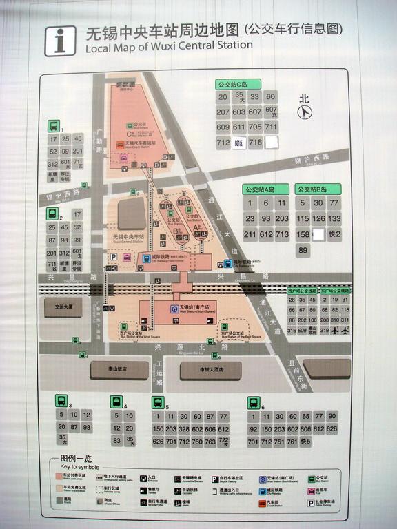 无锡火车站,汽车站地区地图及附近公交路线图