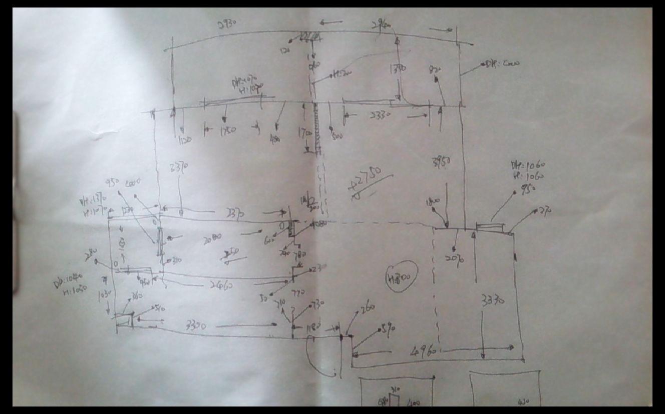 完整手绘量房平面图.(好多小蝌蚪有木有[s:572])